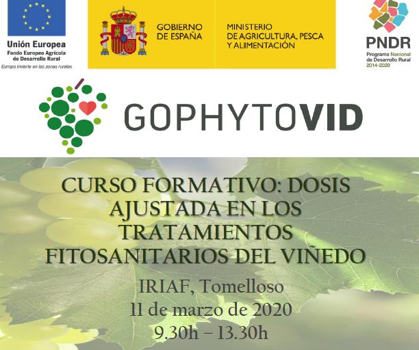 """Curso Formativo """"Dosis ajustada en los tratamientos fitosanitarios del viñedo"""". GOPHYTOVID"""